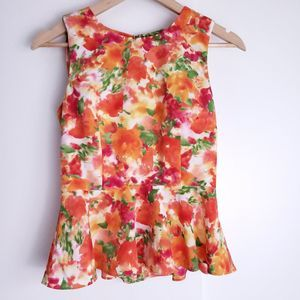 Forever 21 peplum top orange floral XS